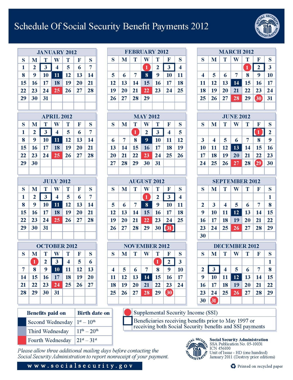 2012 Social Security Disability Ssi Benefits Pay Calendar