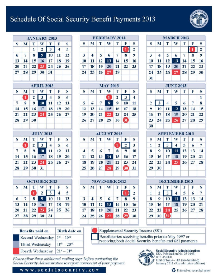 2013 Social Security Disability Ssi Benefits Pay Calendar