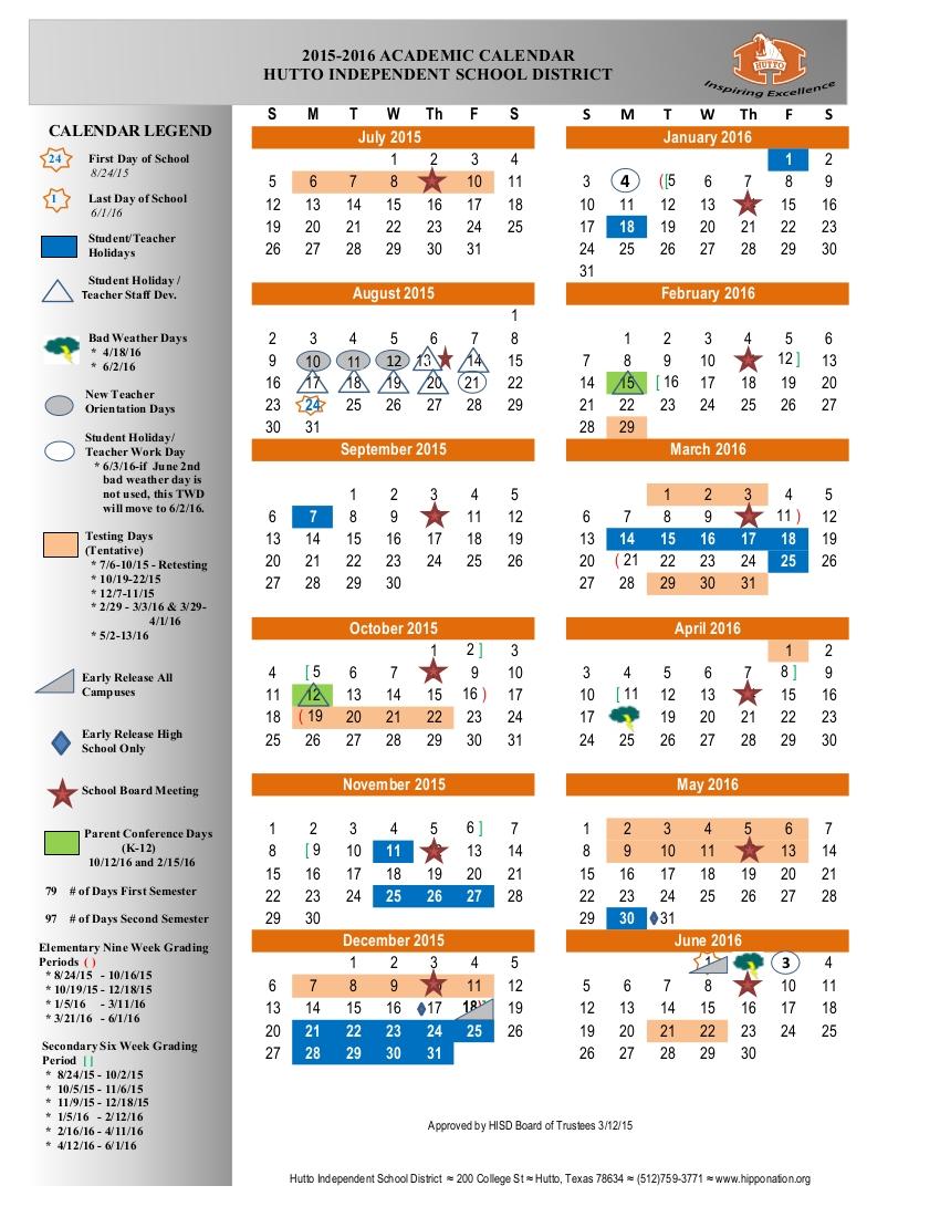 2015 2016 Hutto Isd Academic Calendar