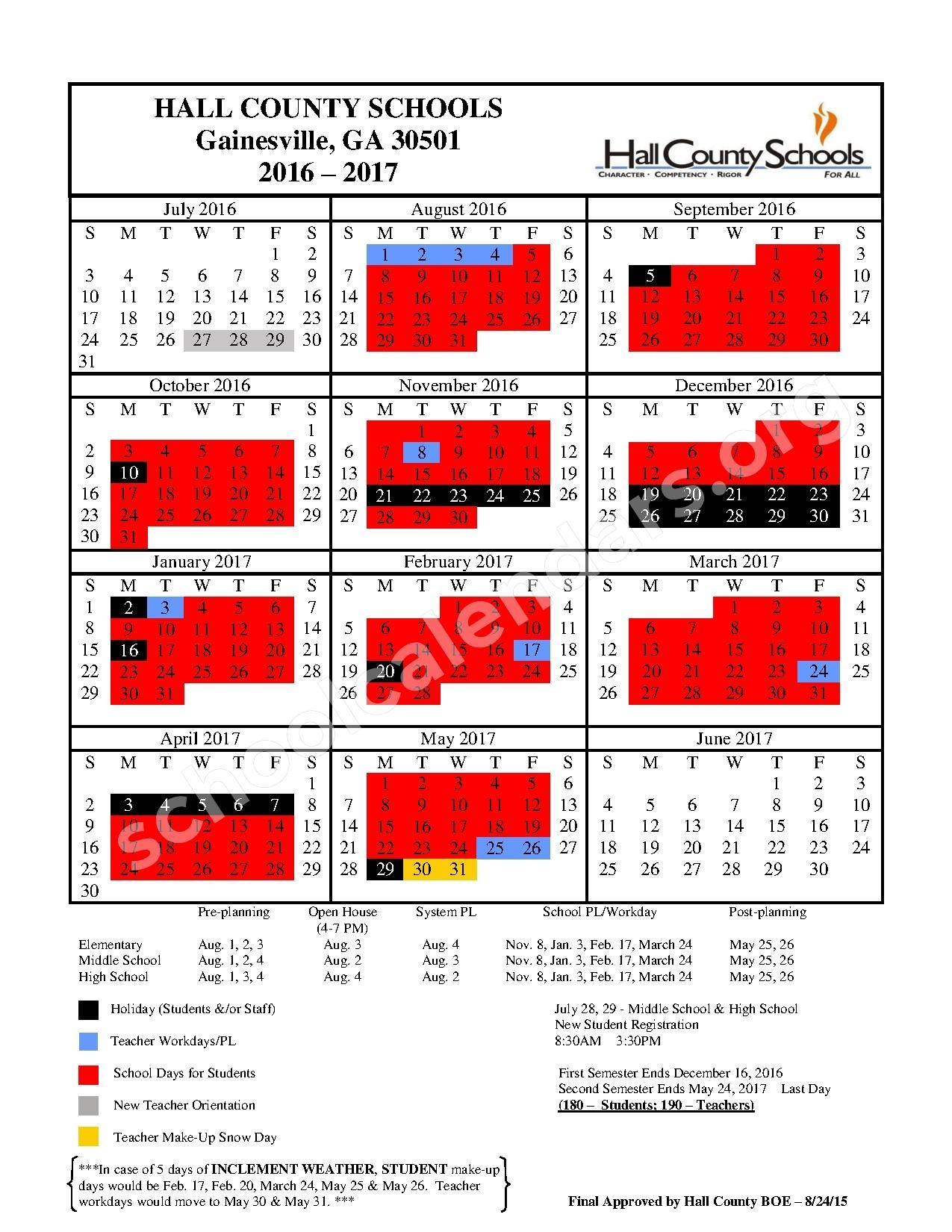 2016 2017 District Calendar Hall County School District