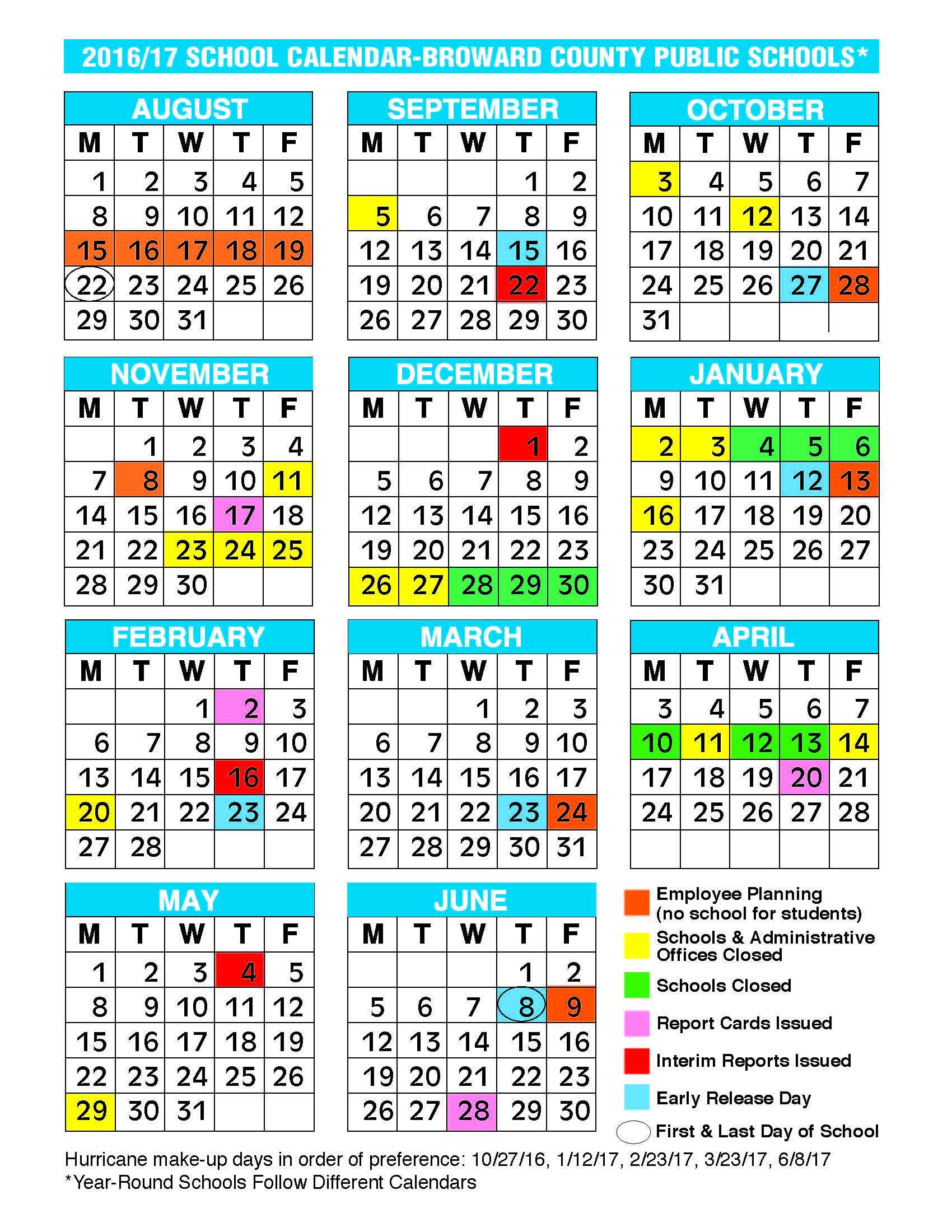 2017 2018 School Calendar Broward 2017 2016 School Calendar Broward