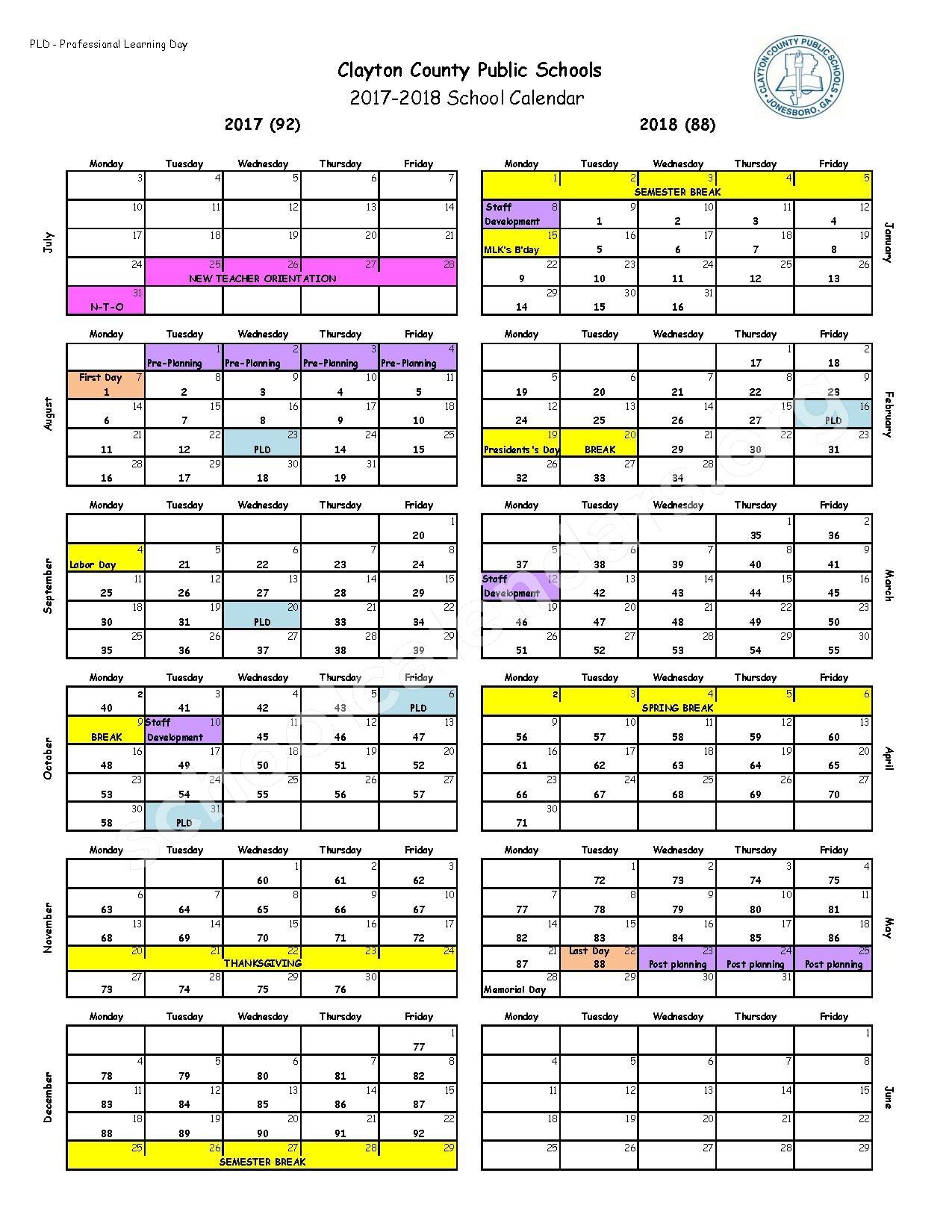2017 2018 School Calendar Clayton County School District