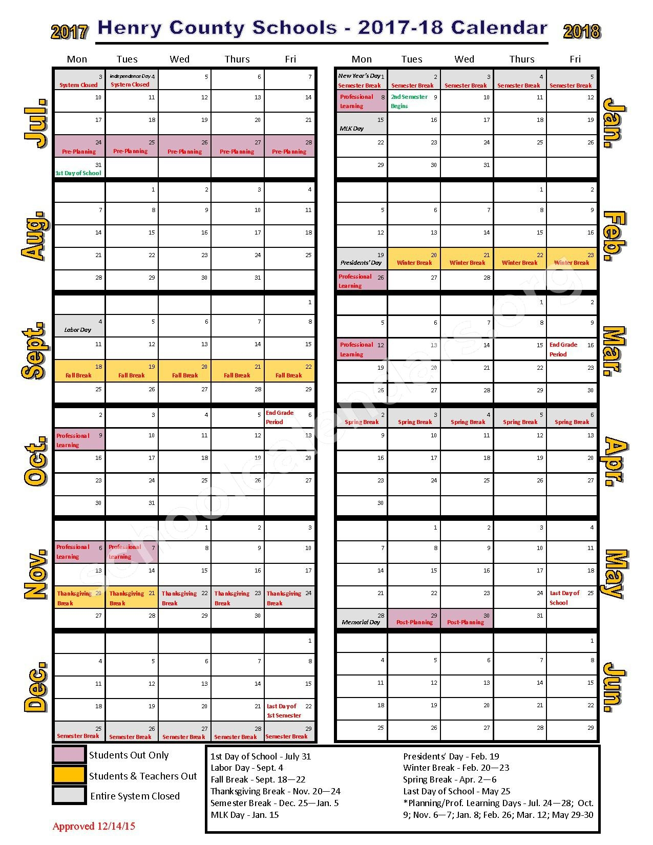 2017 2018 School Calendar Henry County School District