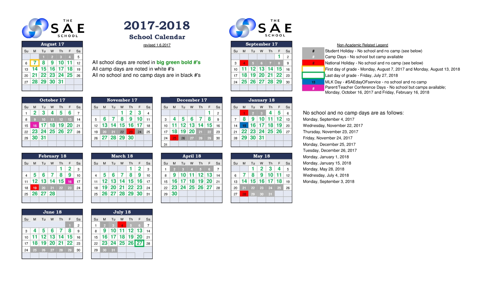20172018 Calendar The Sae School