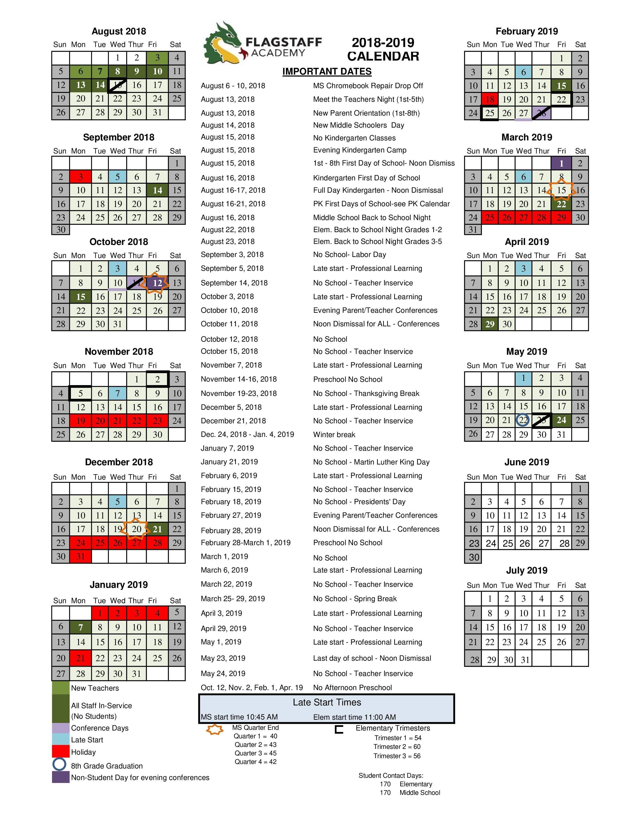 2018 2019 Academic Calendar Grade Levels Academics Flagstaff