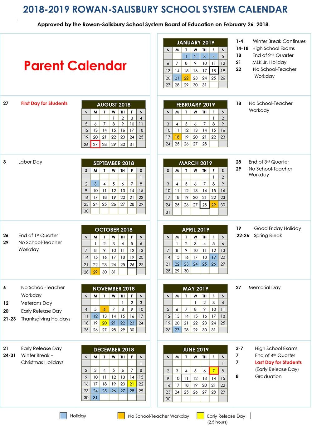 2018 2019 Calendars District News