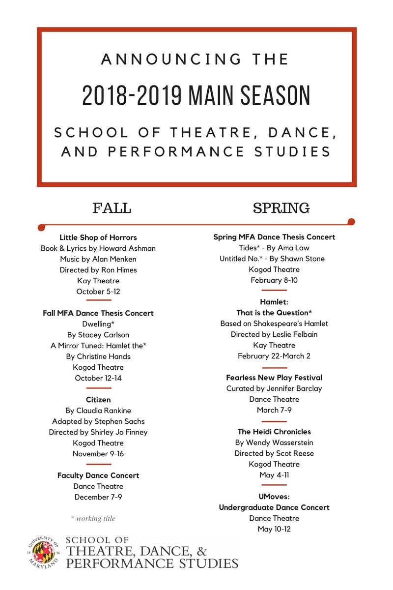2018 2019 Main Season Announcement Umd School Of Theatre Dance And