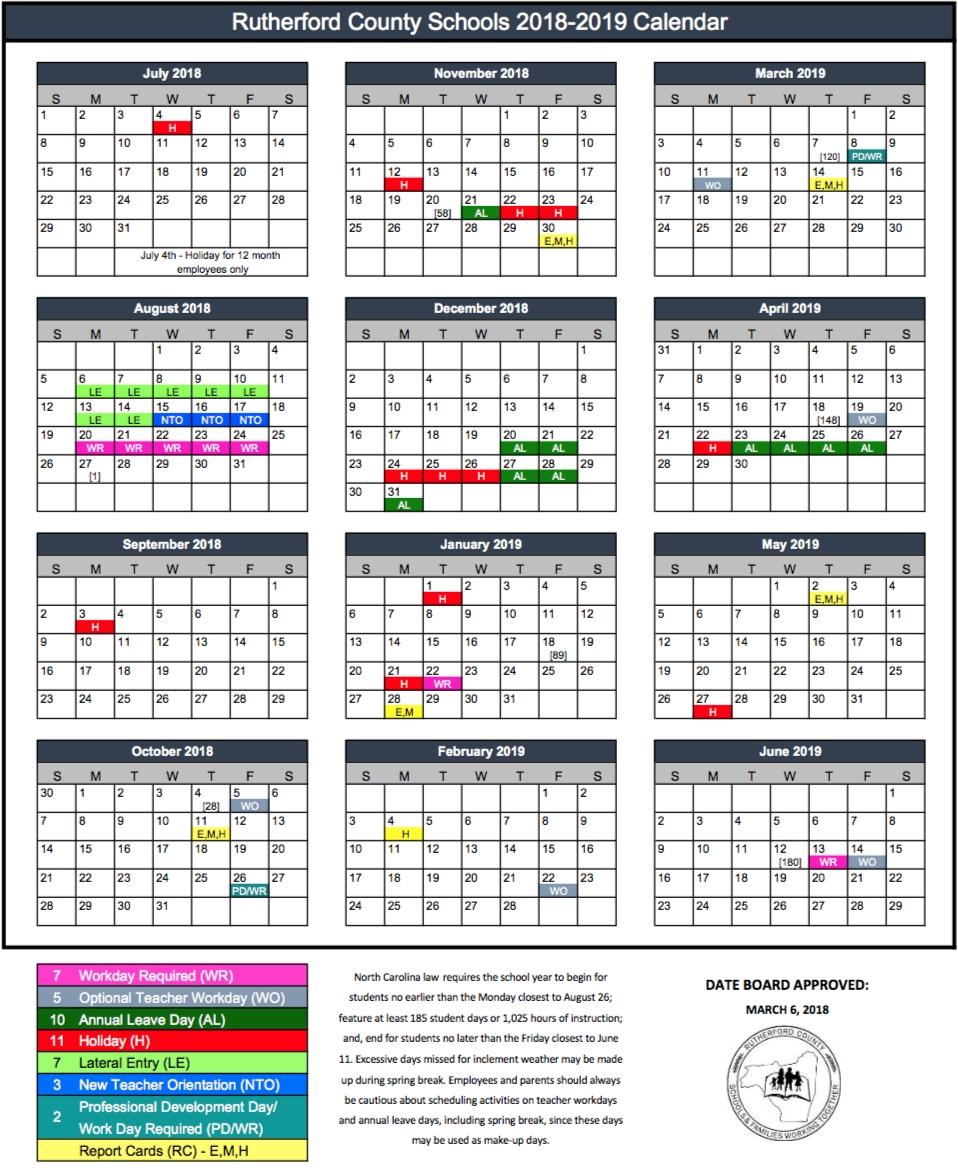 2018 2019 Rcs Calendar Rutherford County Schools