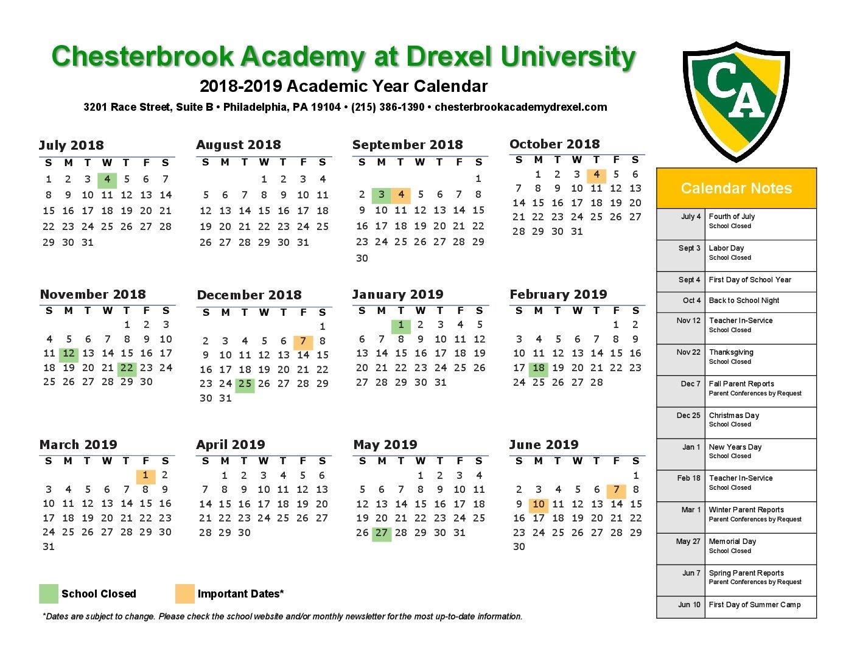 2018 2019 School Year Calendar Chesterbrook Academy