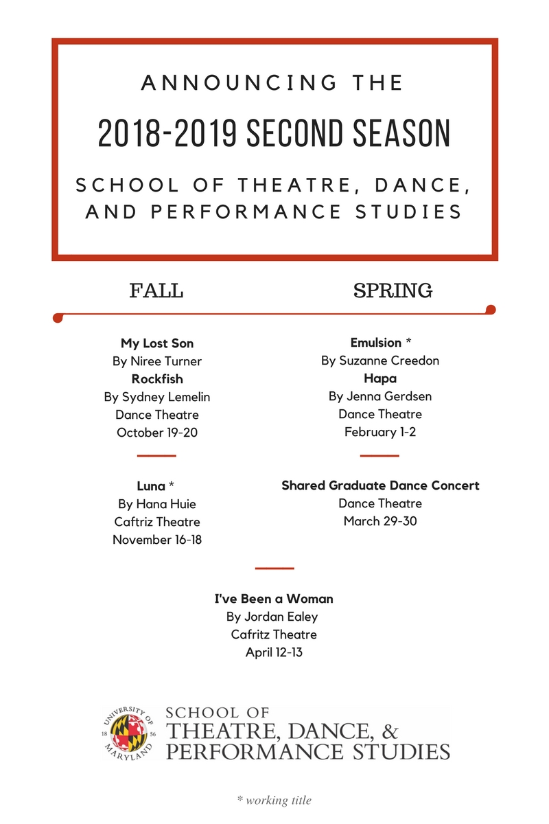 2018 2019 Second Season Announcement Umd School Of Theatre Dance