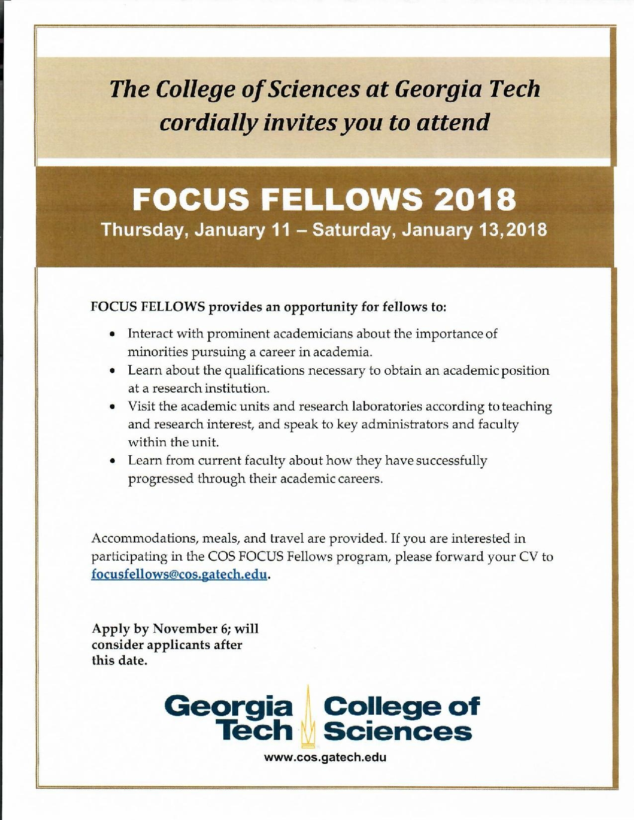 2018 Focus Fellow Georgia Tech Application Deadline November 6