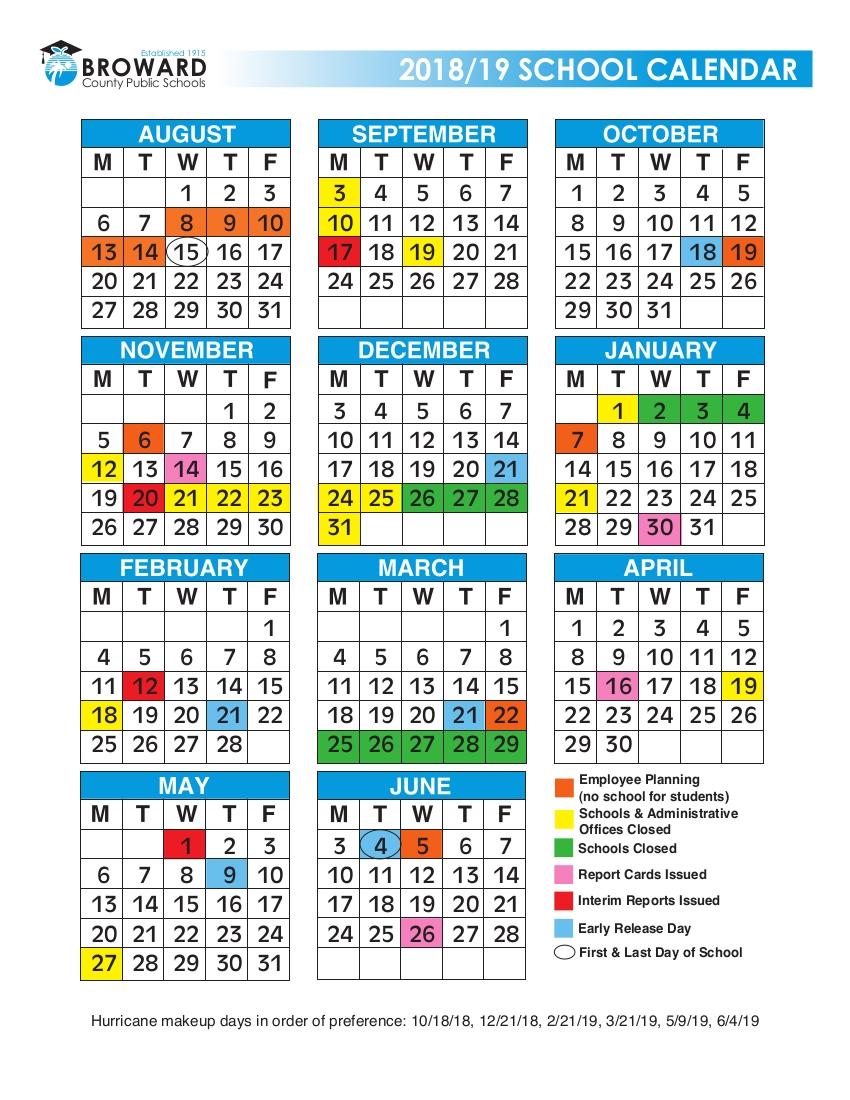 20182019 Broward Schools Calendar Urban Select Realty