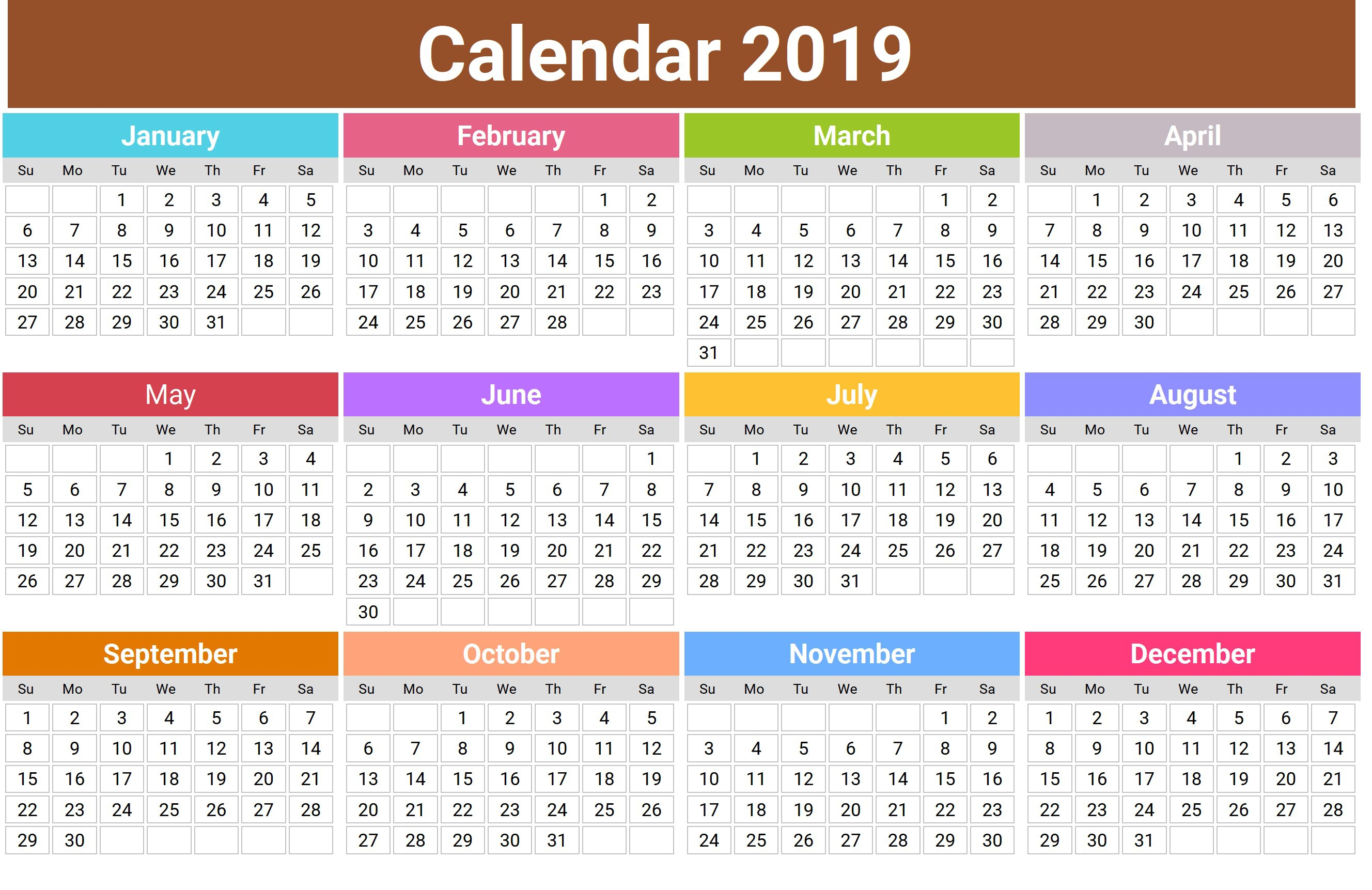 2019 Calendar Png Transparent Images Png All