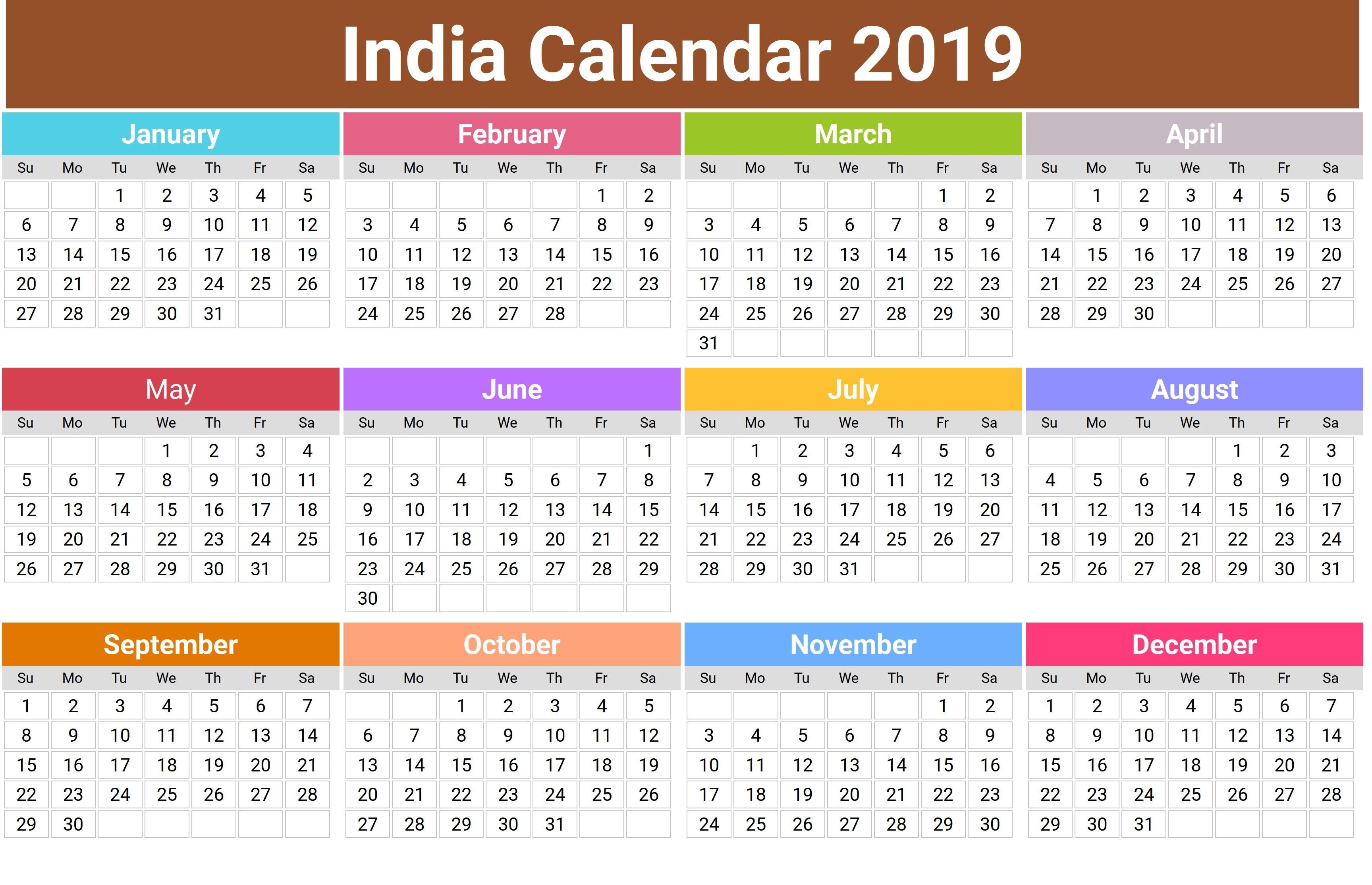 2019 Hindu Calendar With Tithi Tyohar Holidays Festivals