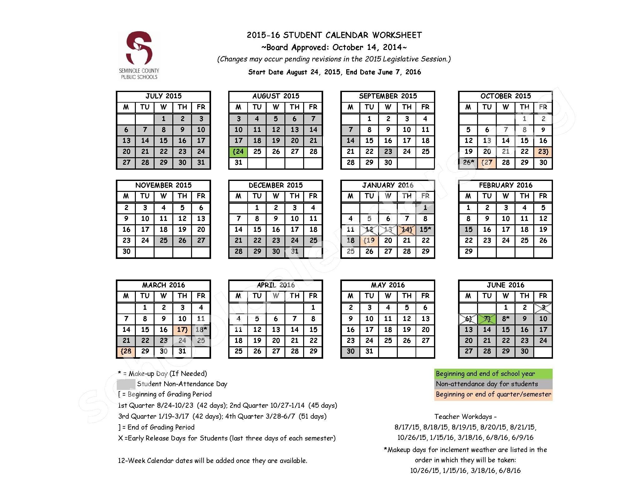 50 Seminole County Public Schools Calendar Tq2r Colorpinch