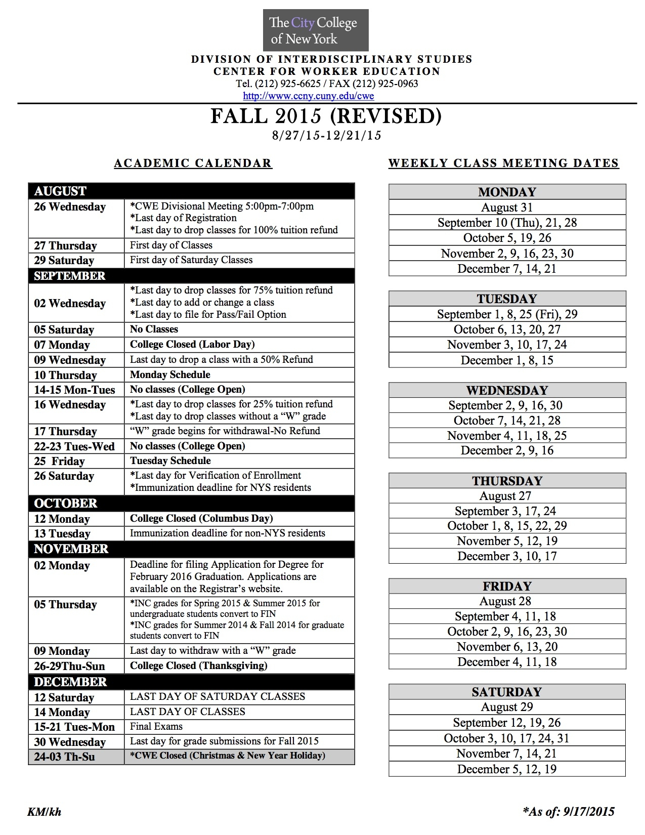Academic Calendar The City College Of New York