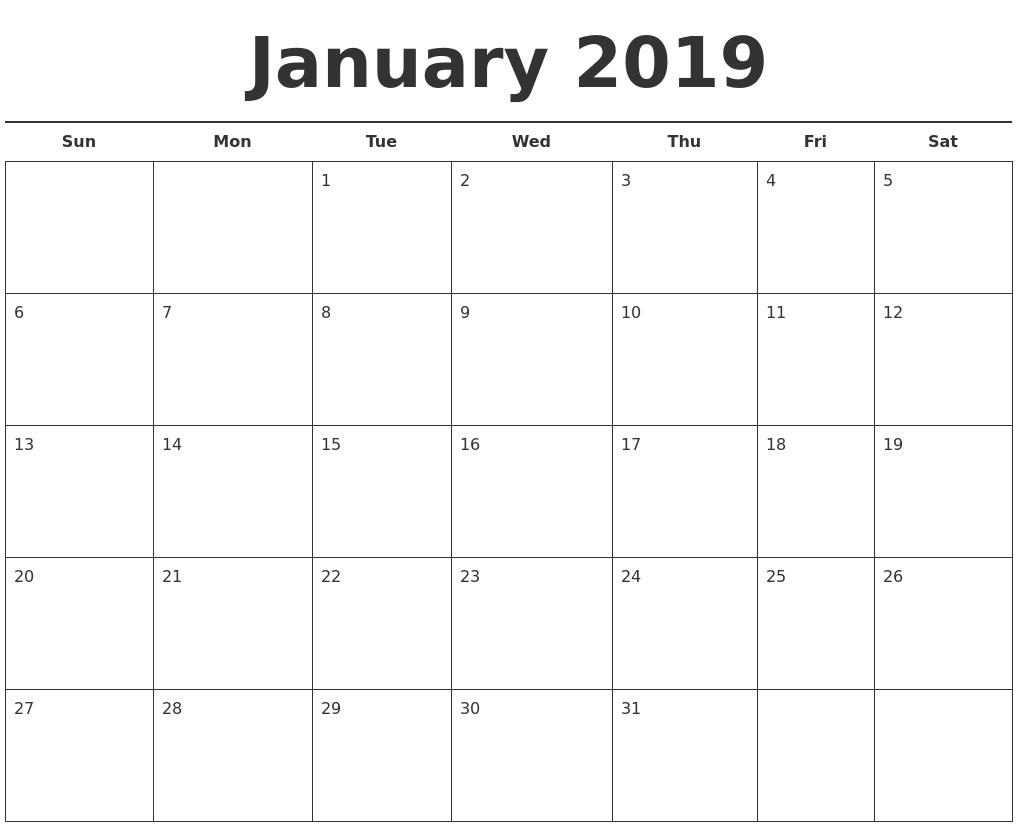 Blank Calendar For January 2019 Printable Calendar Templates