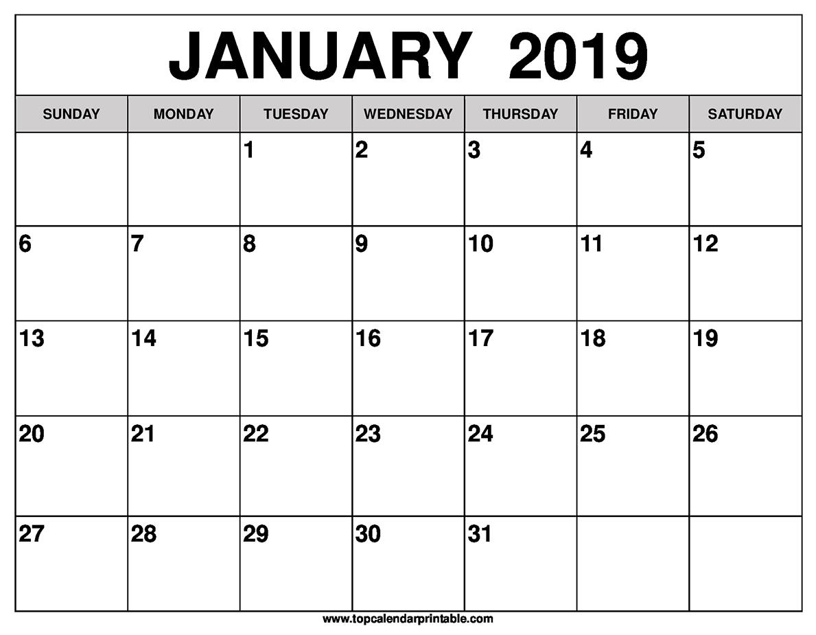 january to december 2019 calendar