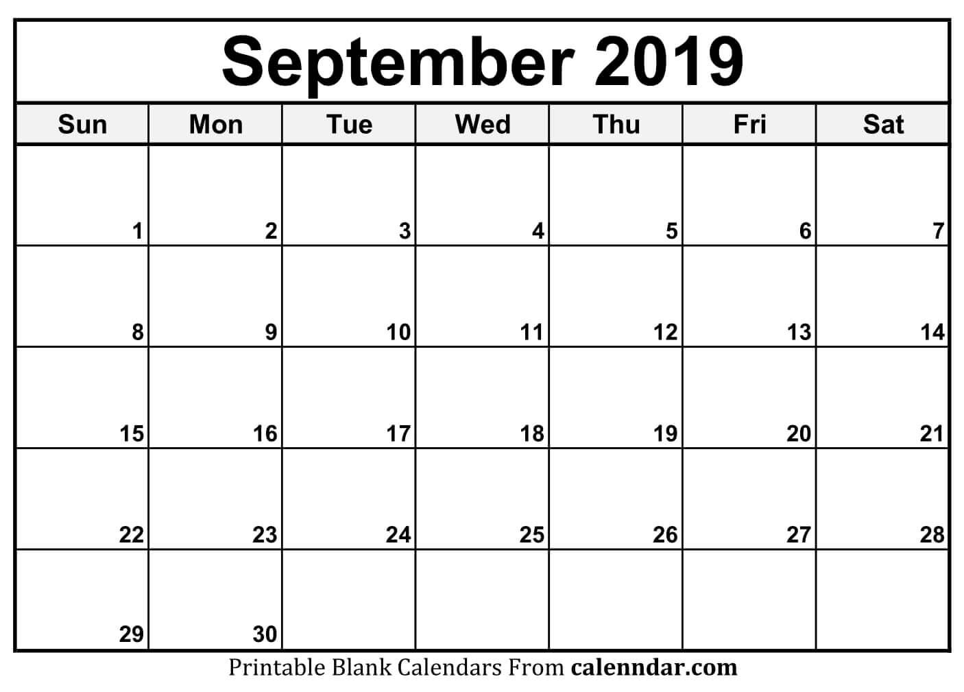 Blank September 2019 Calendar Templates Calenndar