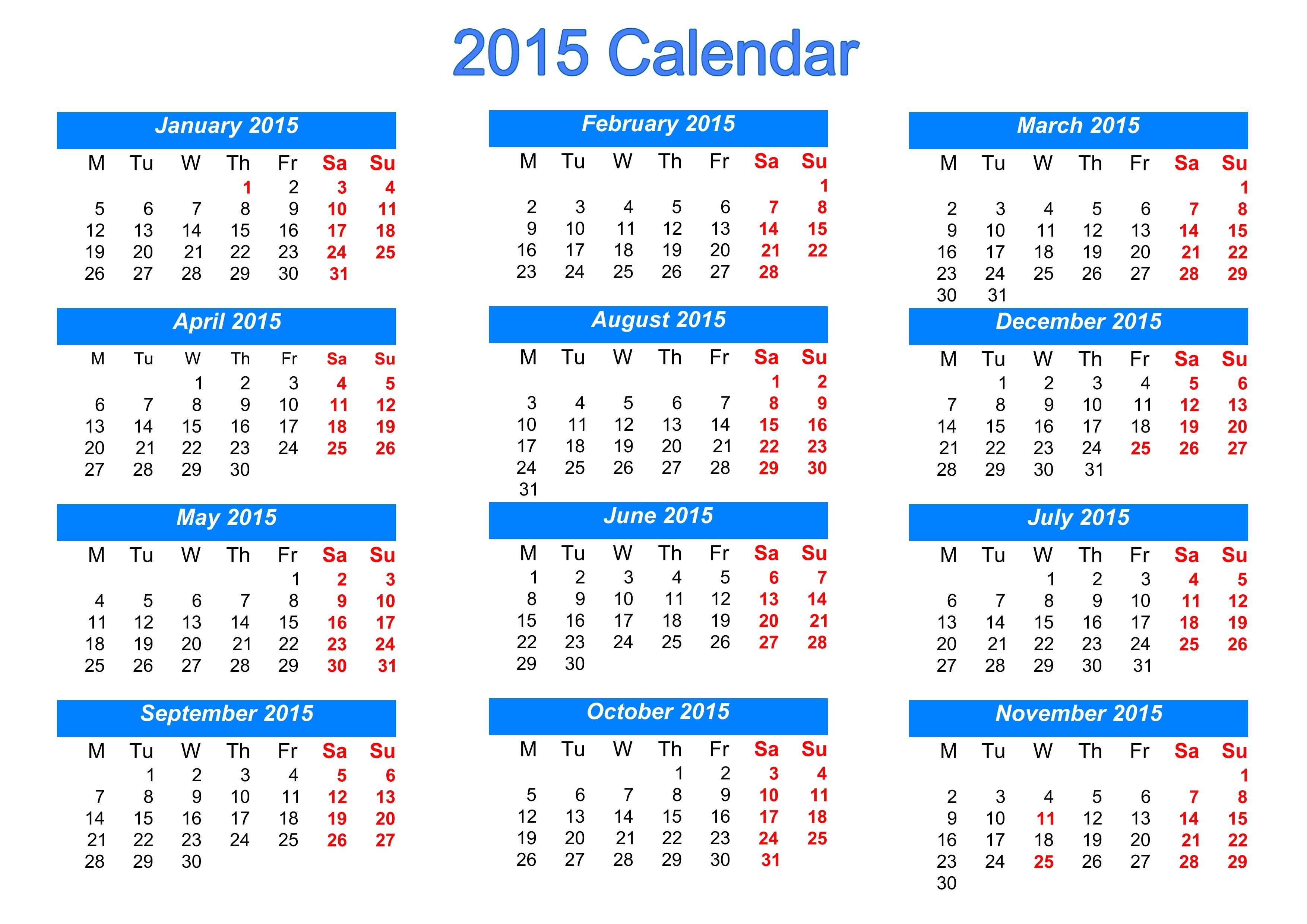 Gregorian Calendar 2015   Qualads