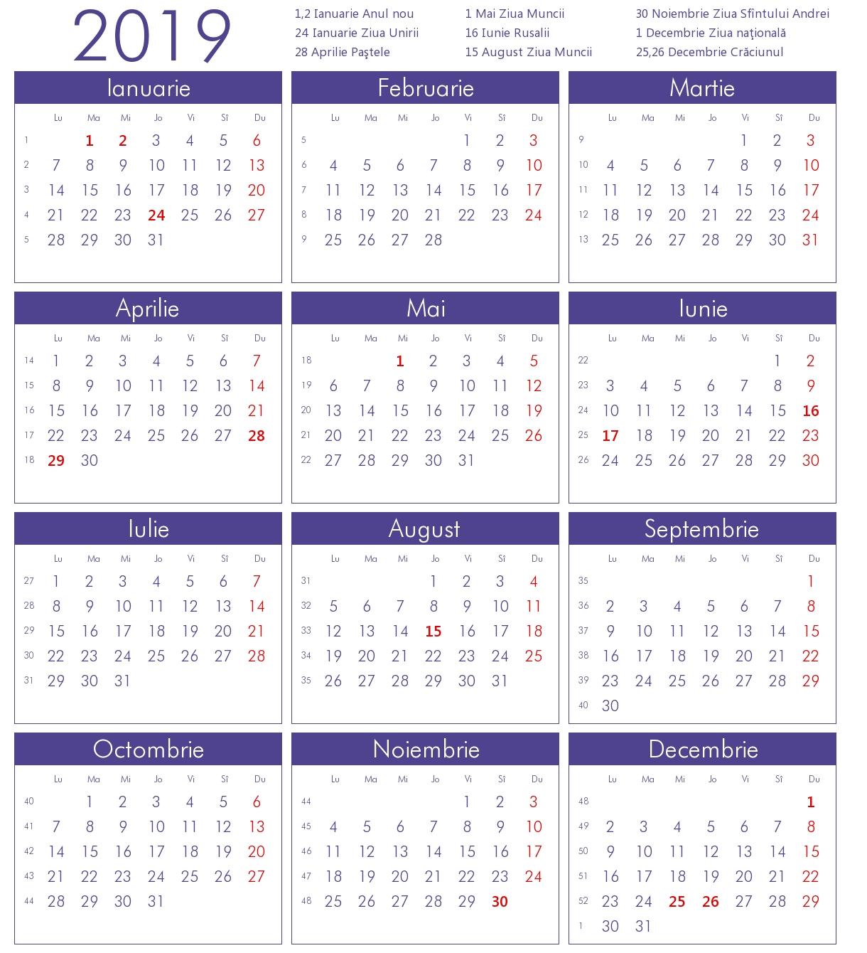 Calendar 2019 Cu Sarbatori Legale Romania Lady 4 Ladys