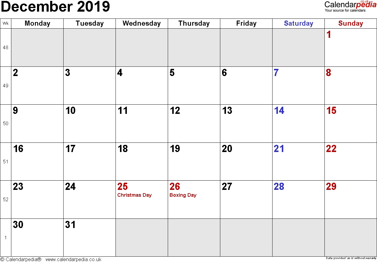 Calendar December 2019 Uk Bank Holidays Excelpdfword Templates