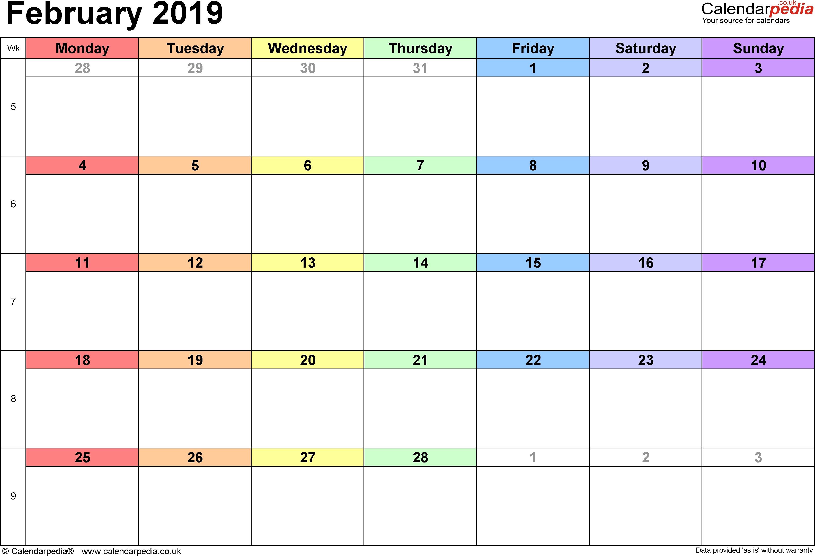 Calendar February 2019 Uk Bank Holidays Excelpdfword Templates