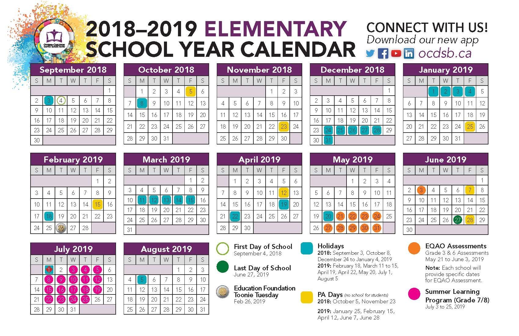 Calendar Ottawa Carleton District School Board