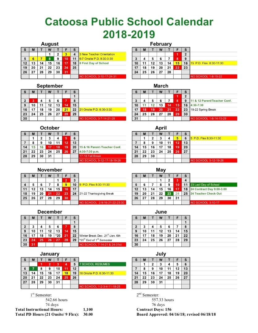 Catoosa Public Schools 2018 2019 Cps Calendar