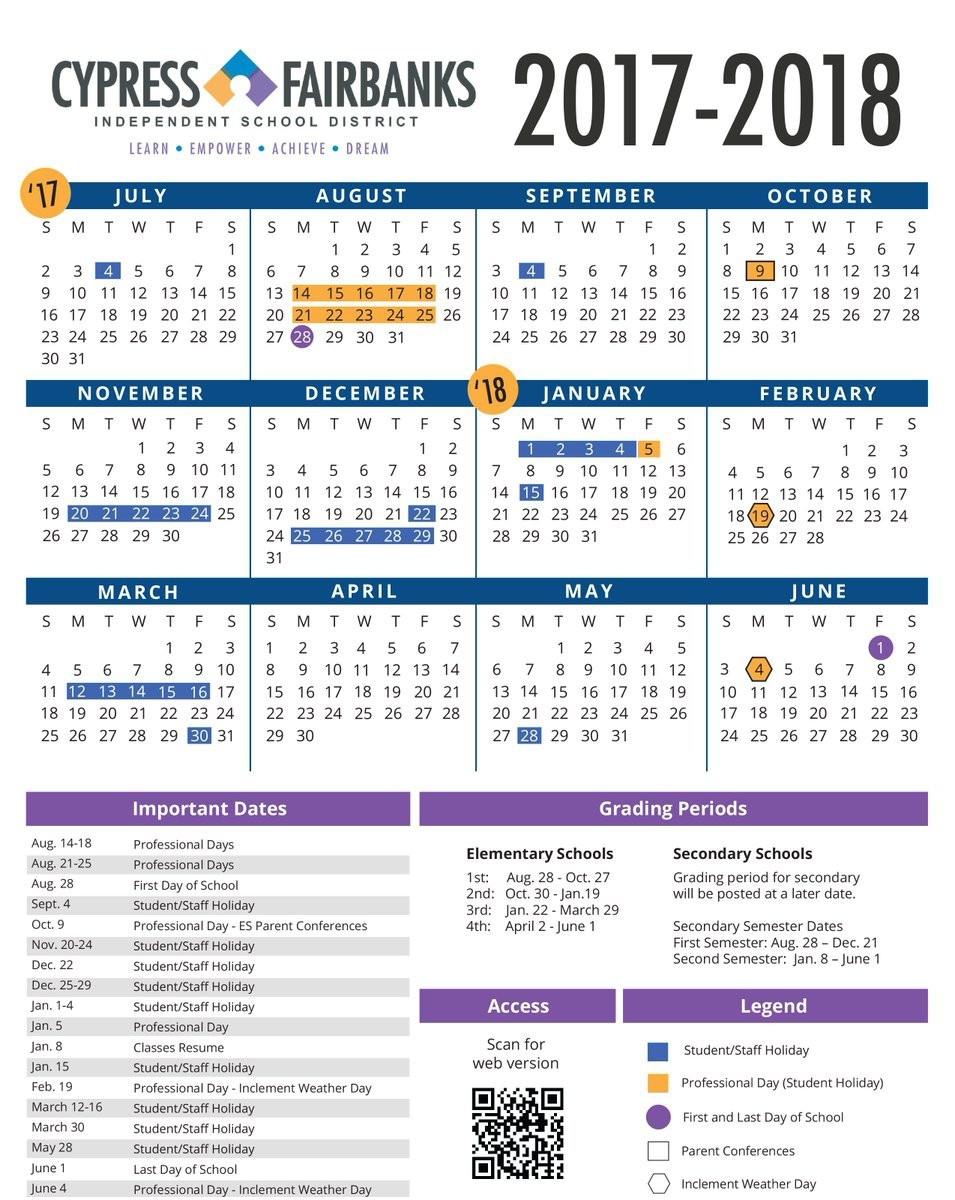 Cfisd Calendar 2017 2018 Cy Fair School Calendar Newcalendar Cy Fair