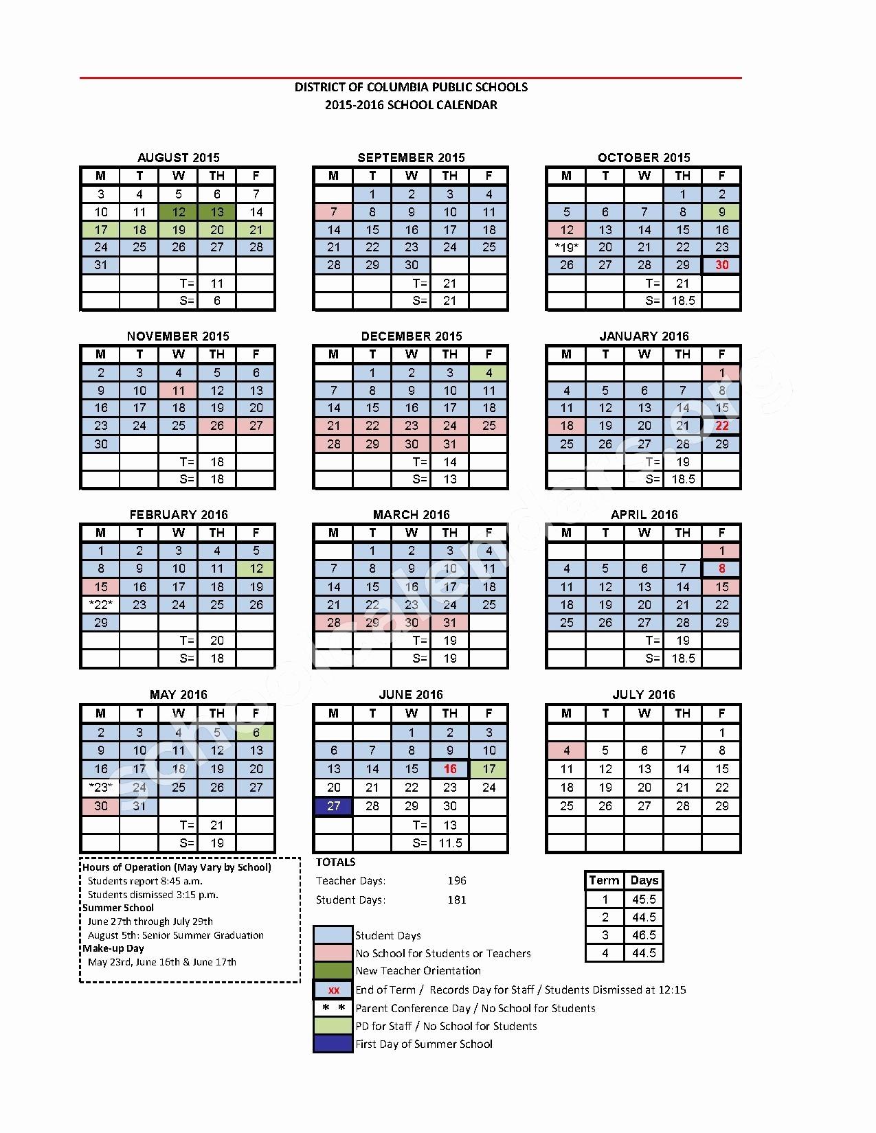 Dcps Calendar 2017 Dc Public School Calendar 2015 2016 Calendar