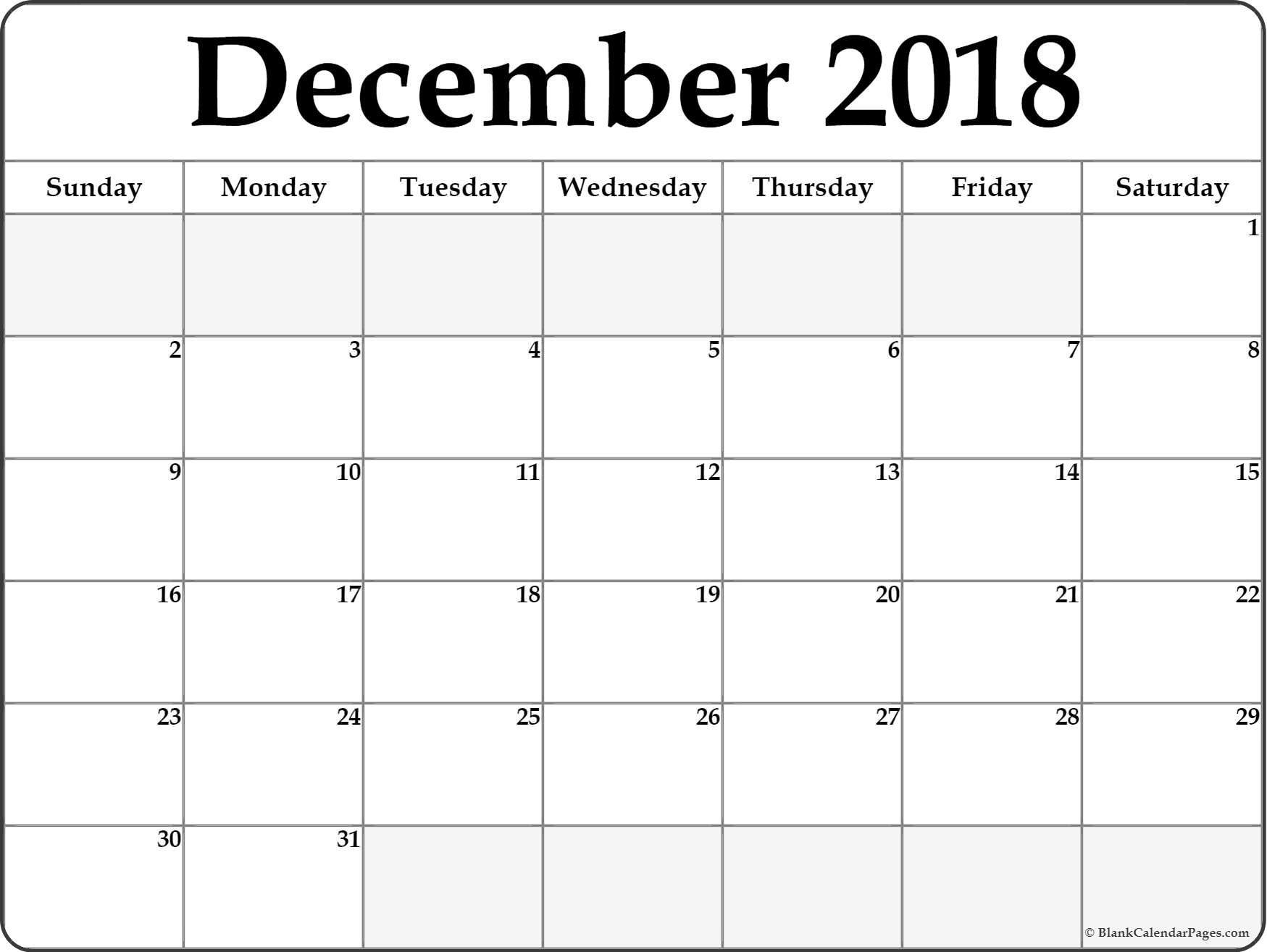 December 2018 Blank Calendar December 2018 Calendar Printable