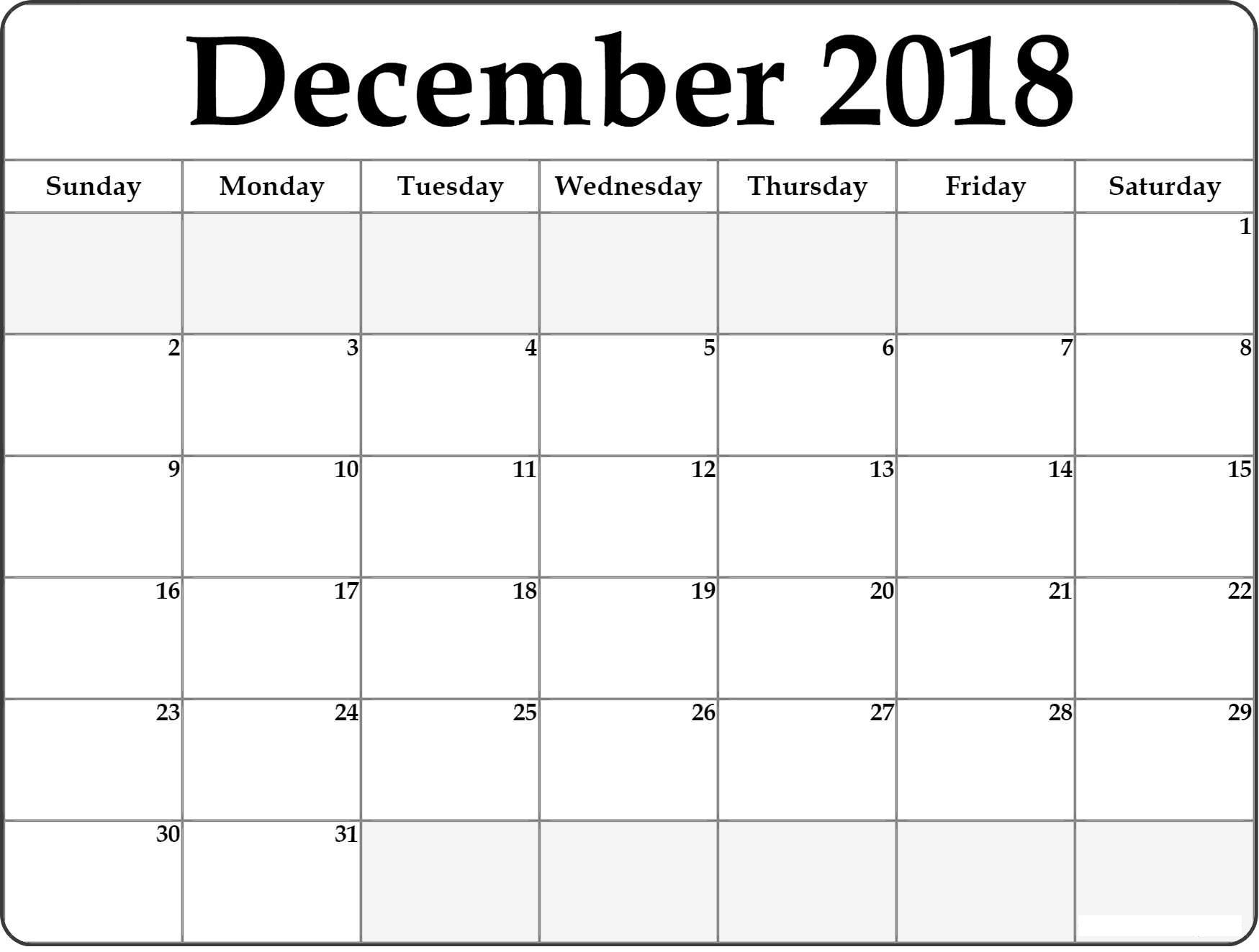 December 2018 Calendar B4 Free Printable Calendar