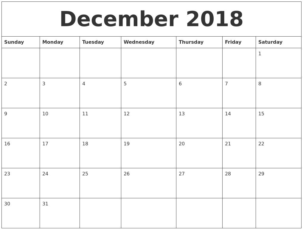 December 2018 Calendar Pdf Word Excel Professional Calendar
