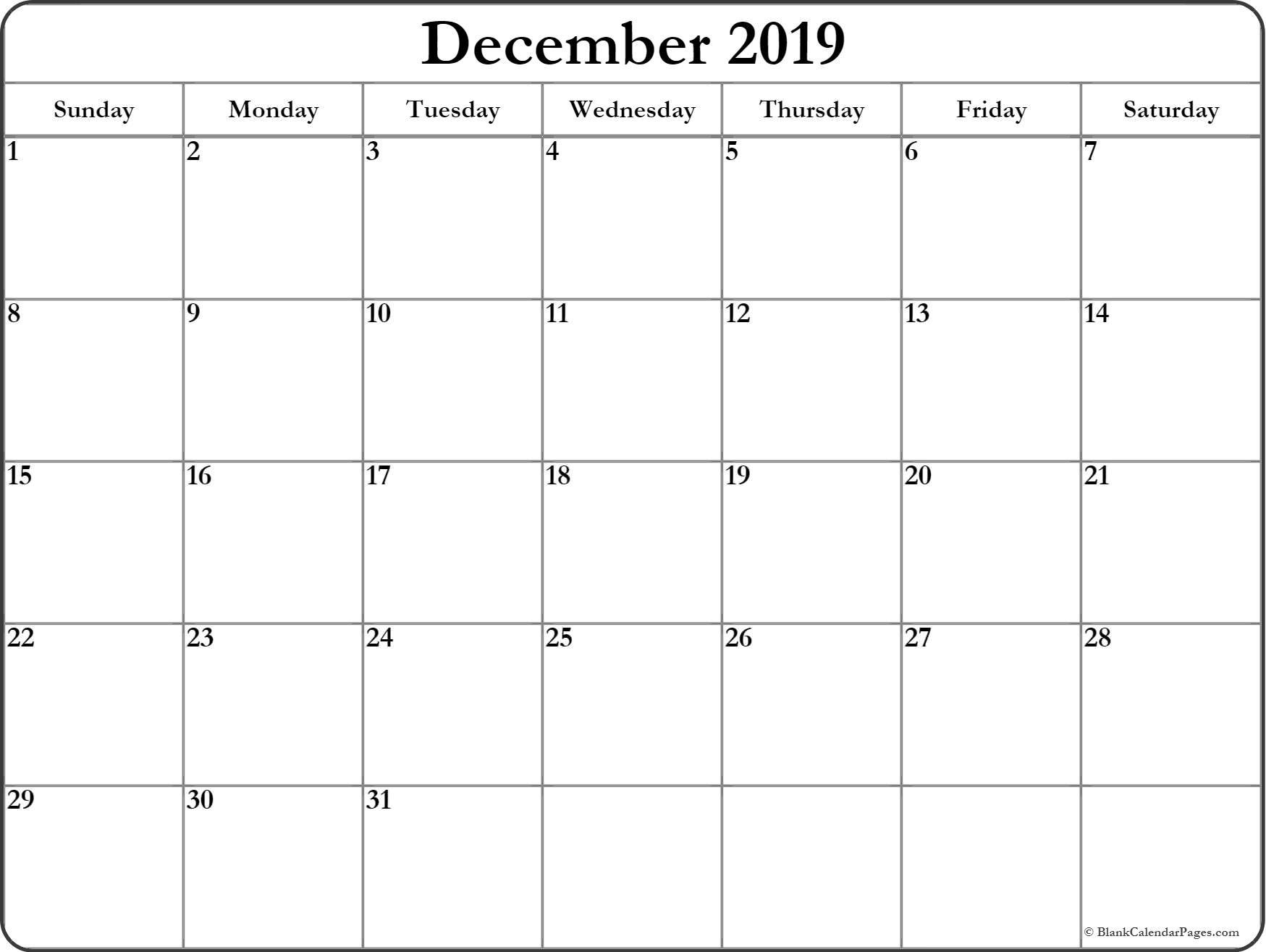 December 2019 Blank Calendar Printable Collection