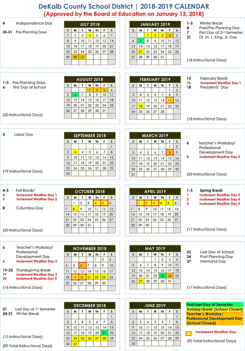 Dekalb County School Calendar 2018 2019 Baverman Real Estate