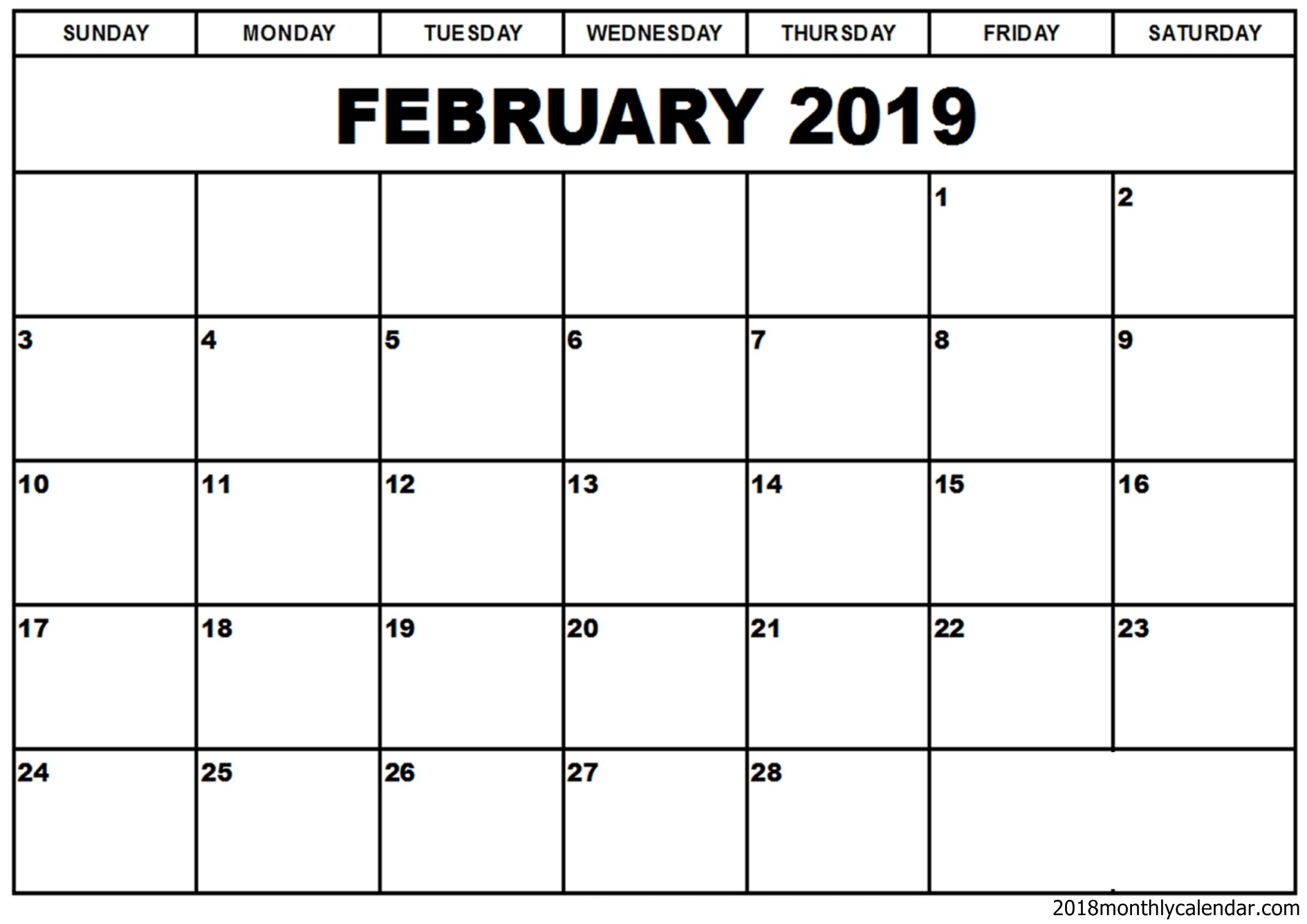 Download February 2019 Calendar Blank Editable