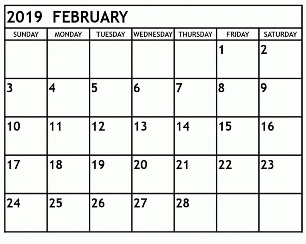 Download Printable February 2019 Blank Calendar January 2019