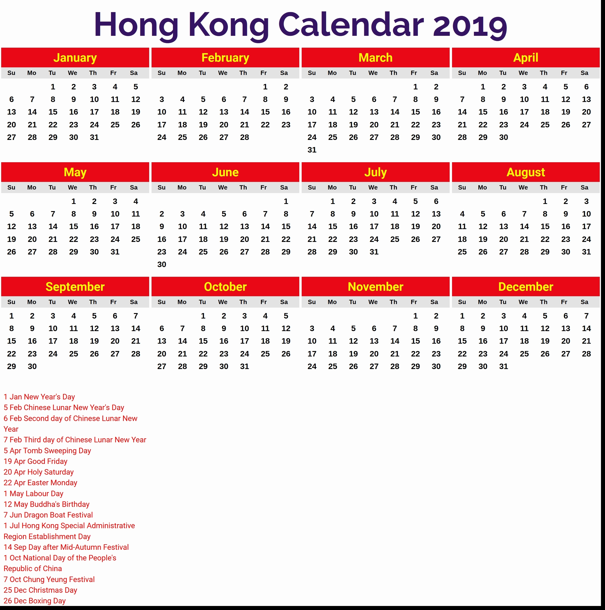 February 2019 Calendar Hong Kong Calendar Creative Printable