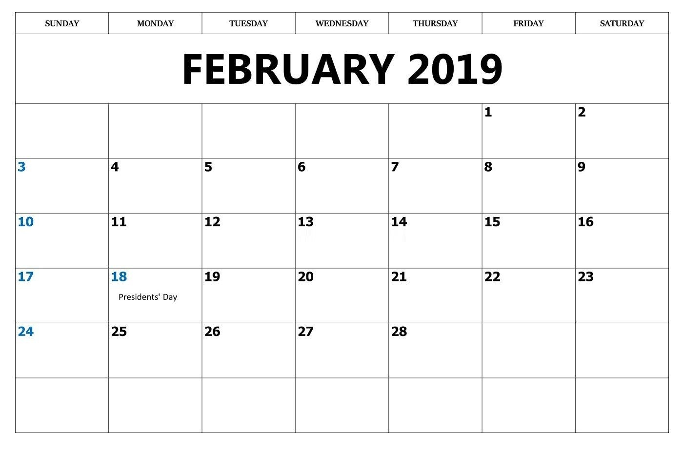 February 2019 Calendar With Holidays For Office February 2019