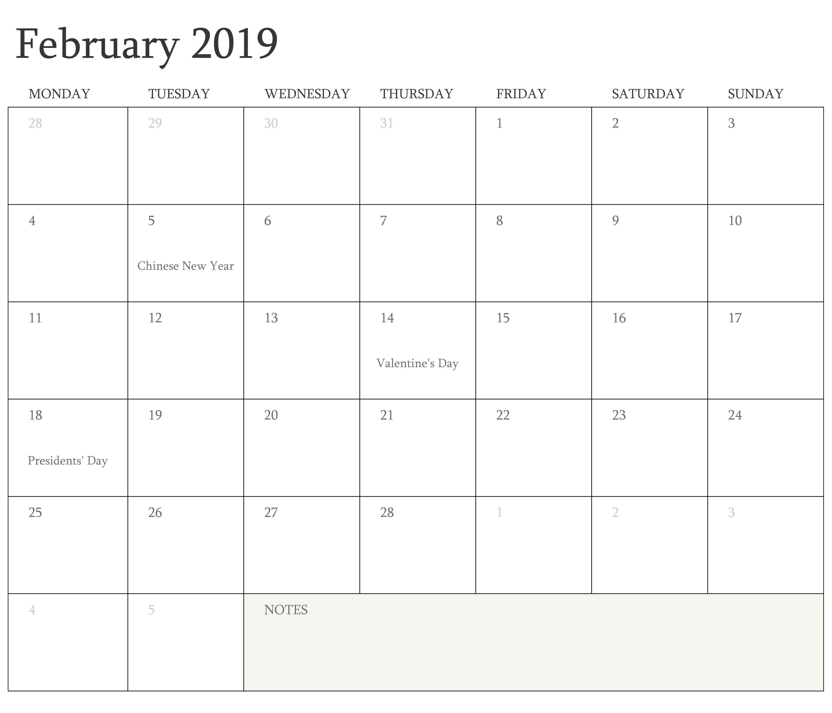February 2019 Calendar With Holidays Printable Manage Work