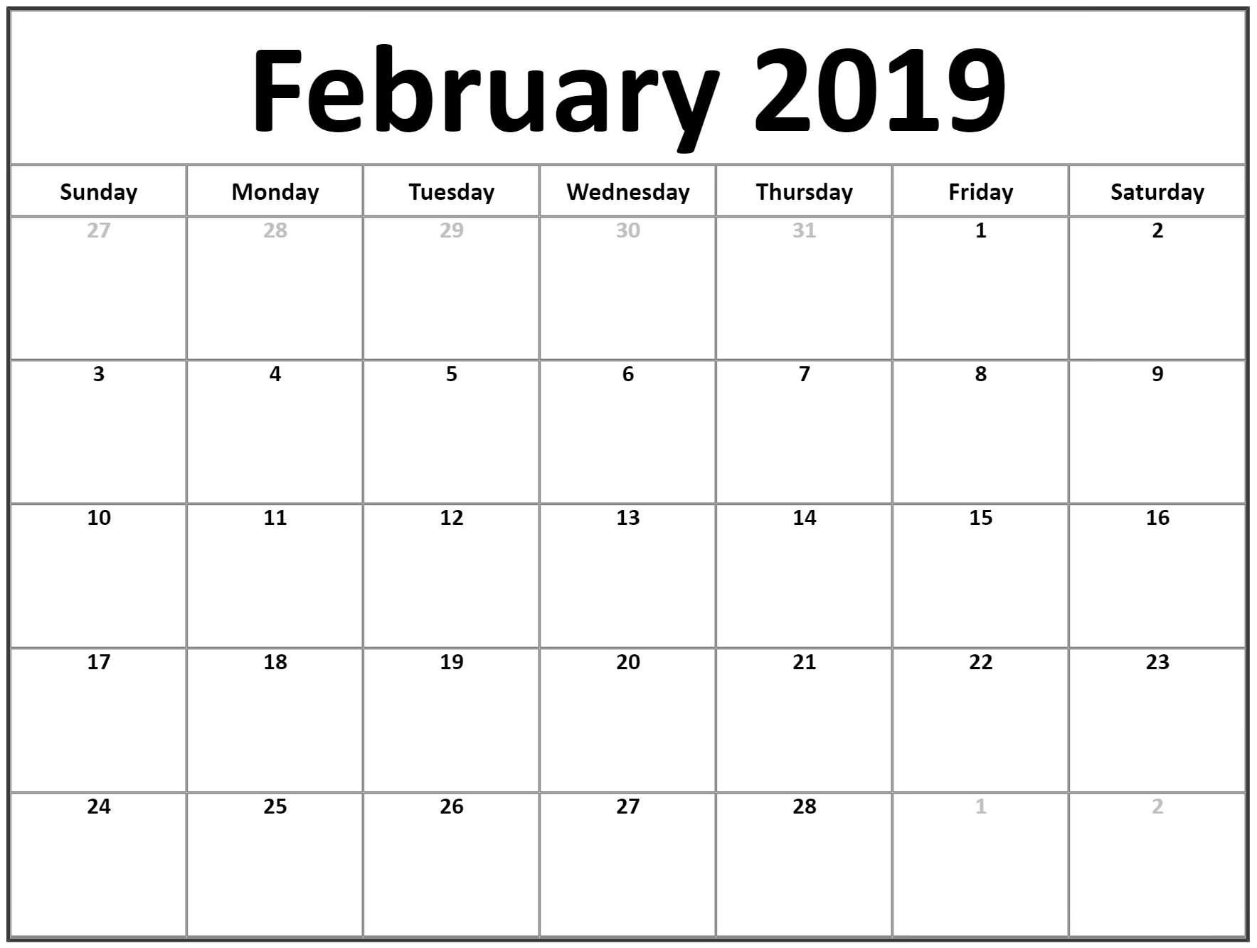 February Calendar 2019 For Office February Calendar 2019 Manage