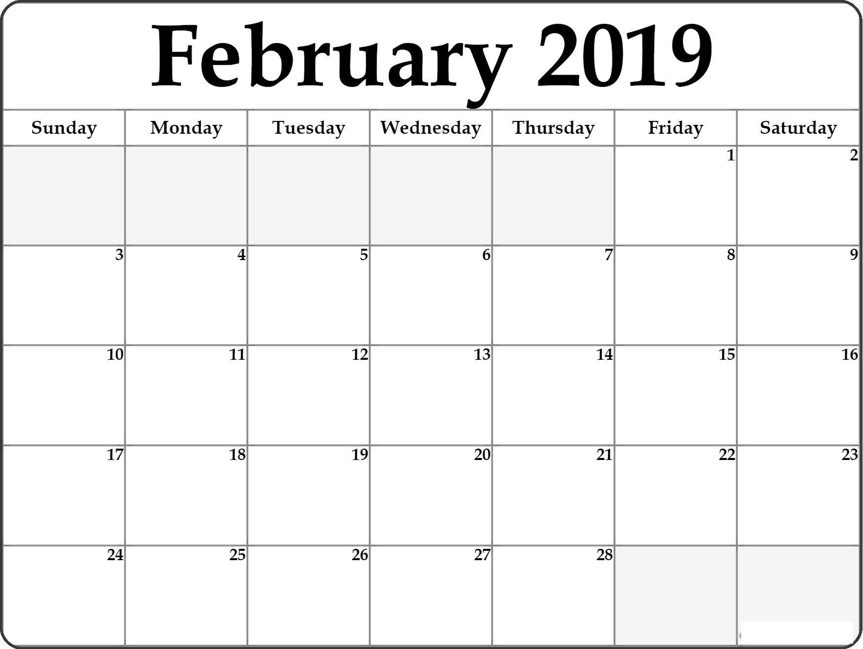 February Calendar 2019 Manage Work February Calendar 2019 Manage