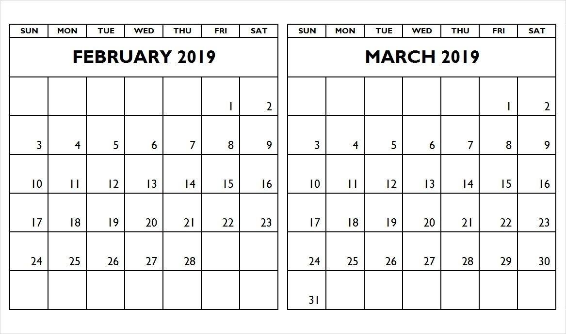 February March Calendar 2019 Calendar Format Example