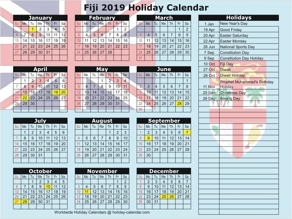 Fiji 2019 2020 Holiday Calendar