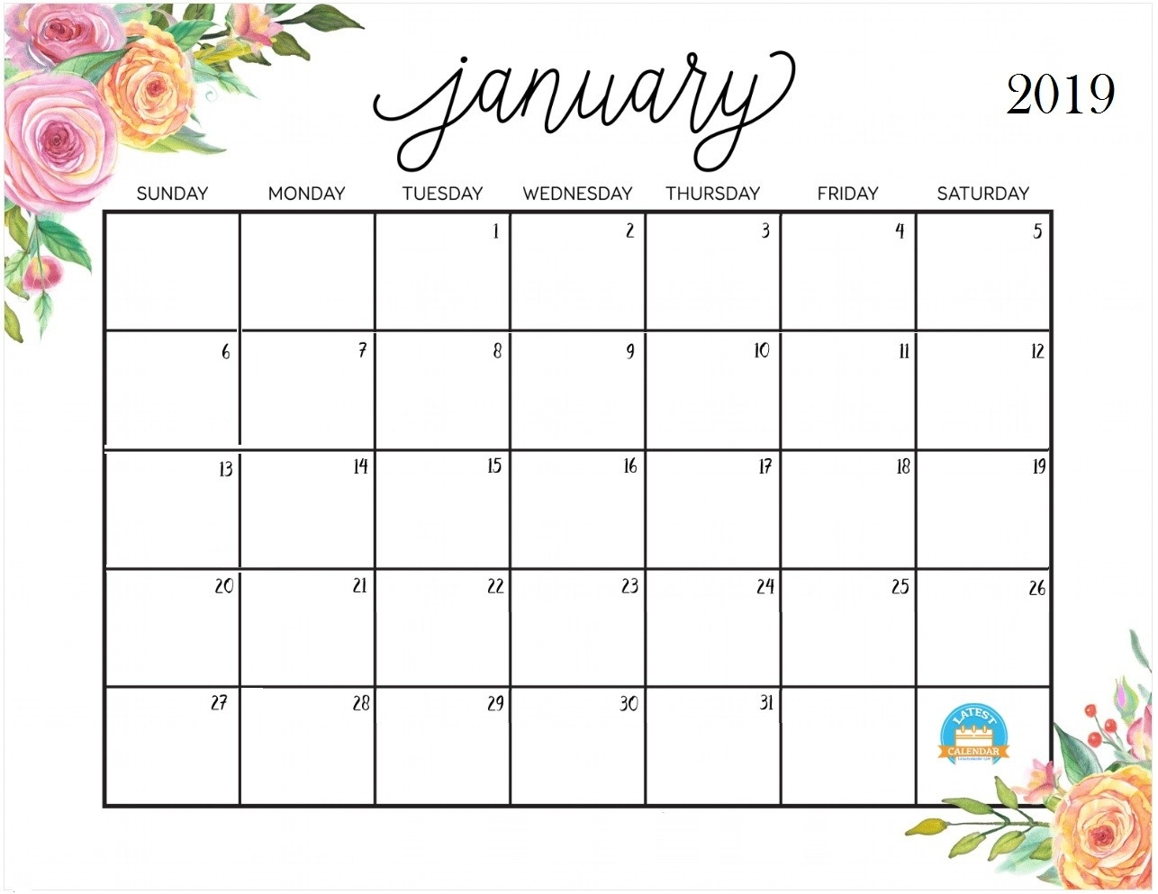 Free Cute Printable Calendars 2019 Printable January 2019 Calendar