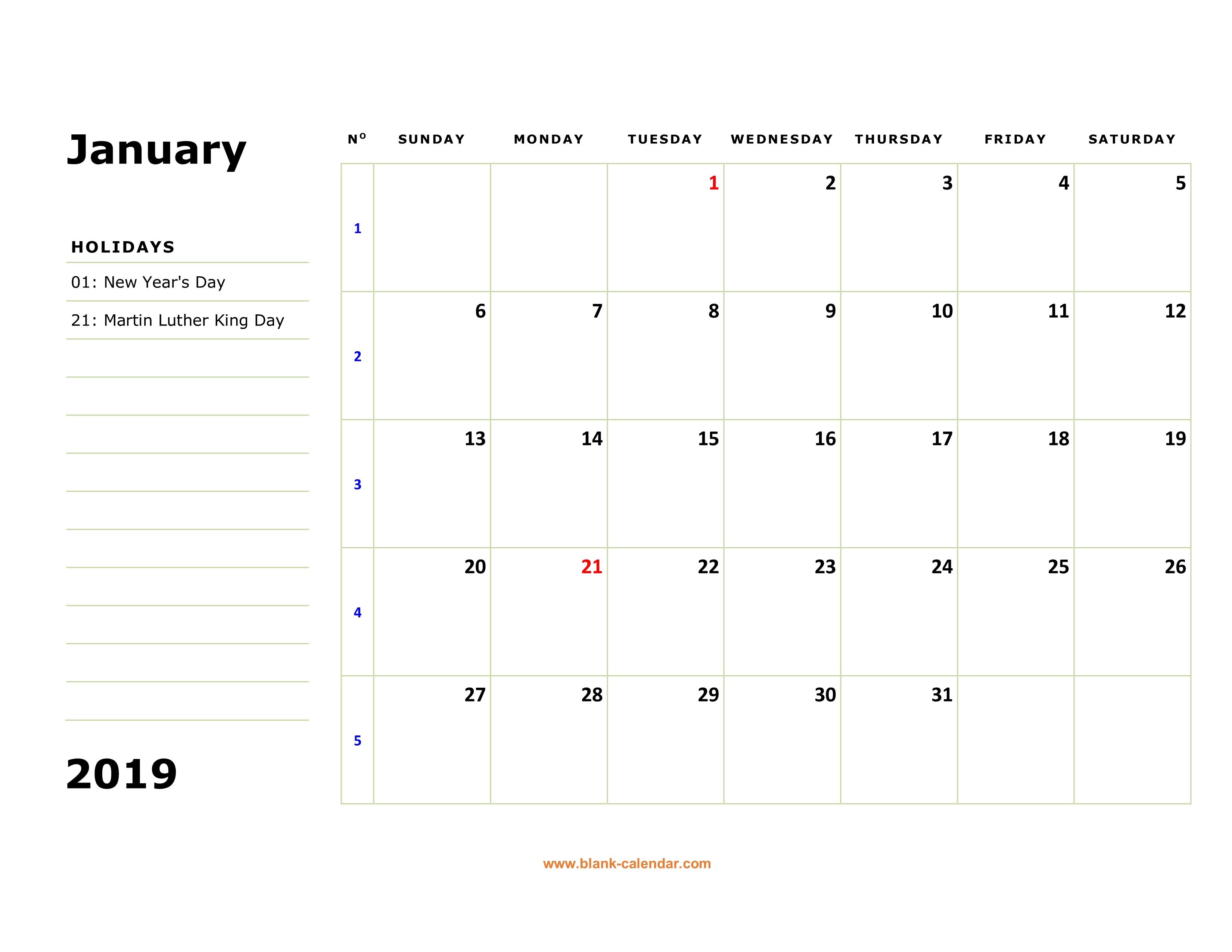 Free Download Printable Calendar 2019 Large Box Holidays Listed