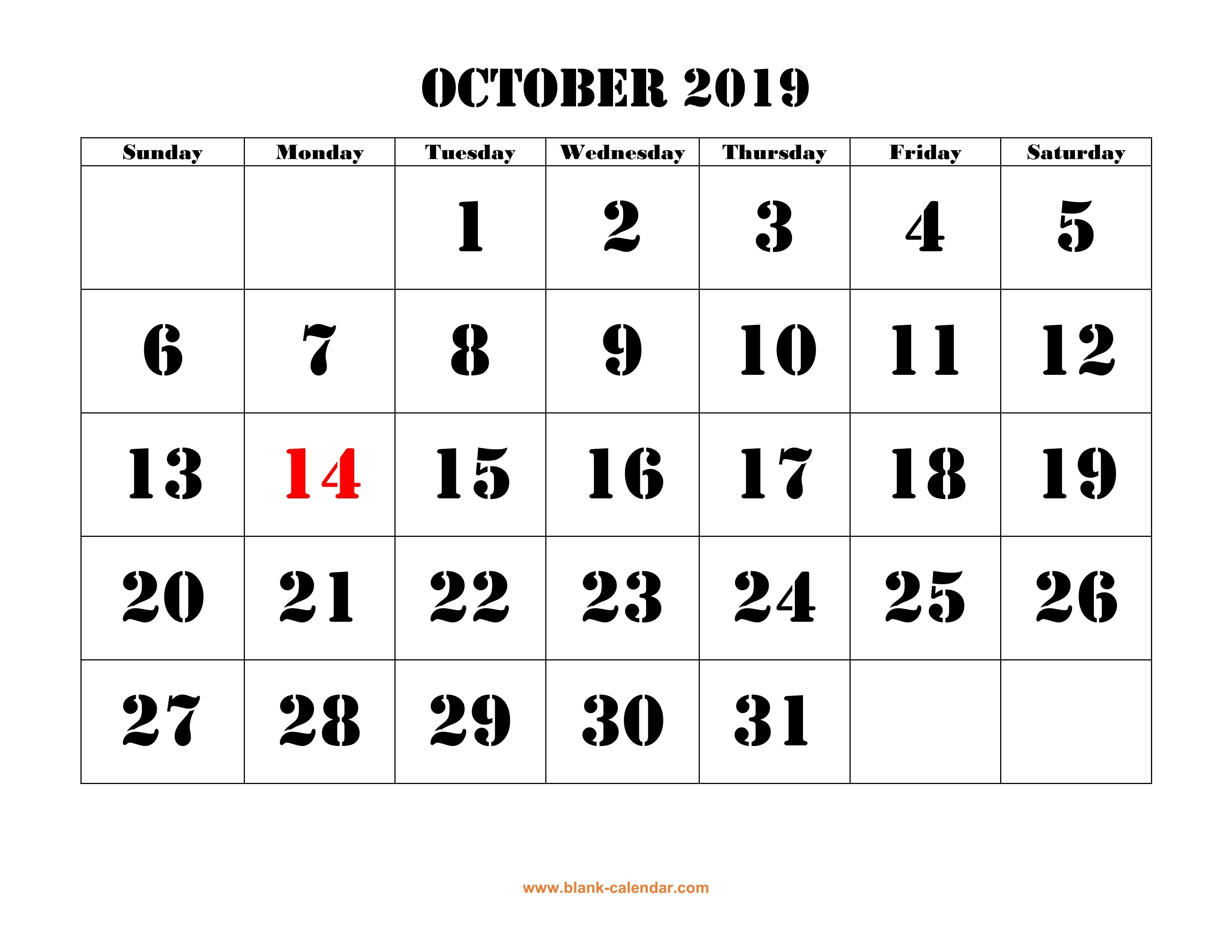 Free Download Printable October 2019 Calendar Large Font Design