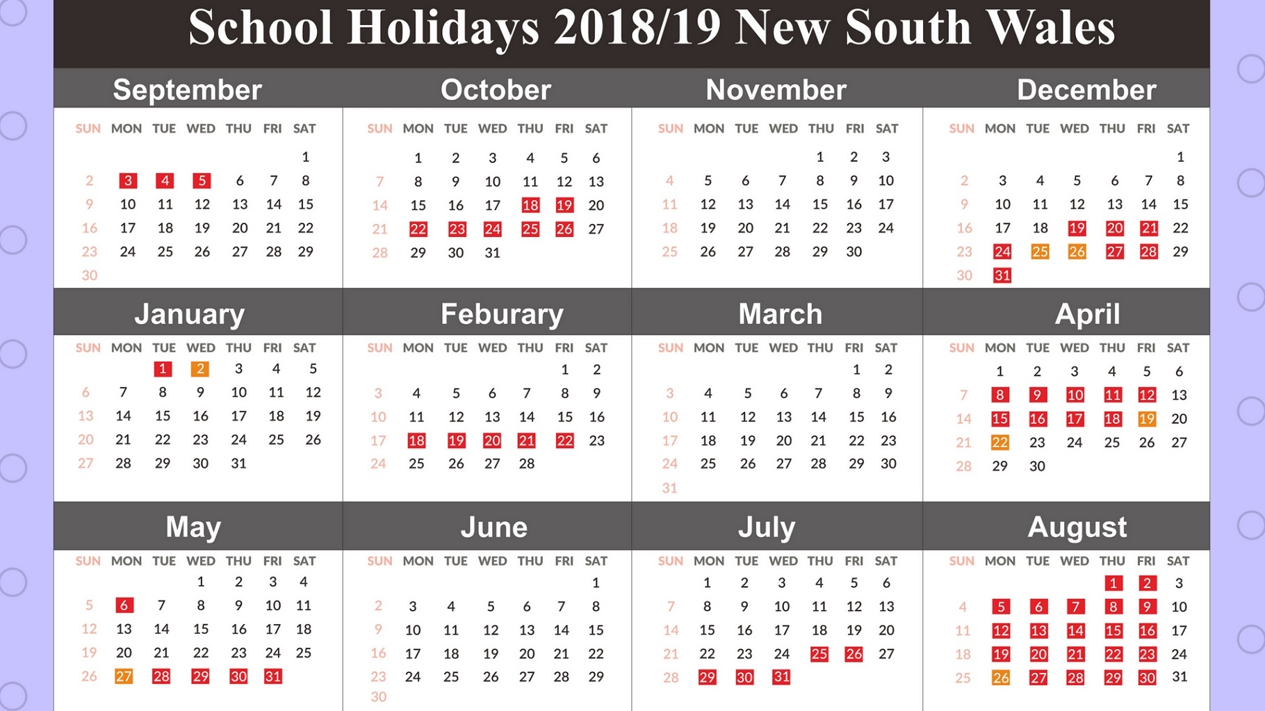 2019 Calendar Nsw Qualads