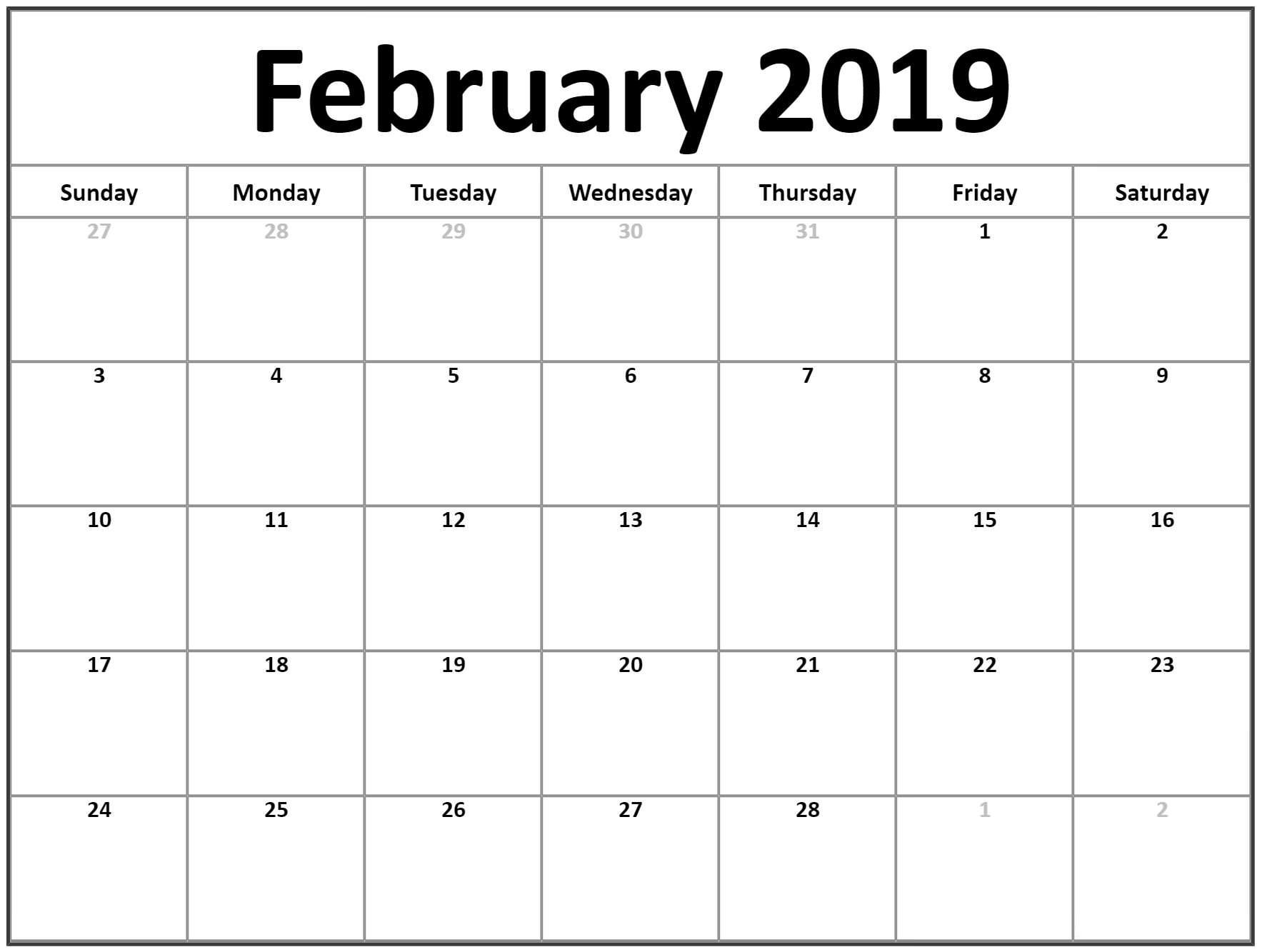Free Printable February 2019 Blank Calendar Calendar 2018 Free